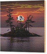 Small Island At Sunset Wood Print
