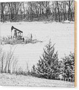 Small Oil Pump Jack Wood Print