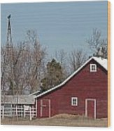 Small Red Barn With Windmill Wood Print