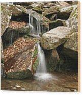 Small Rock Falls Wood Print