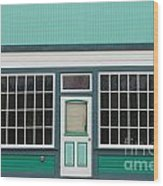 Small Store Front Entrance To Green Wooden House Wood Print