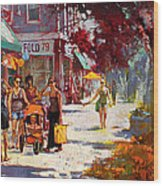 Small Talk In Elmwood Ave Wood Print