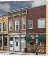 Small Town Main Street Shops Wood Print