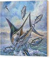 Small Tuna And Blue Marlin Jumping Wood Print