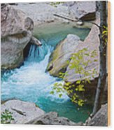 Small Virgin River Waterfall In Zion Canyon Narrows In Zion Np-ut Wood Print