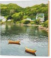 Small Yellow Boats Wood Print