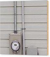 Smart Grid Power Supply Meter And Phone Line Drop Wood Print