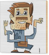 Smart Guy Doodle Character Wood Print by Frank Ramspott