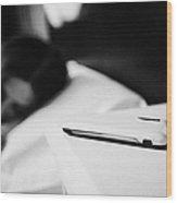 Smartphone On Bedside Table Of Early Twenties Woman In Bed In A Bedroom Wood Print by Joe Fox