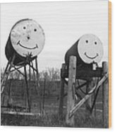 Smiley And Friend Wood Print