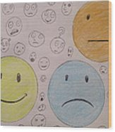 Smiley Face And Friends Wood Print