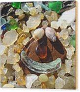 Smiley Face Art Prints Seaglass Shells Agates Beach Wood Print by Baslee Troutman