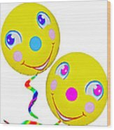Smiley Face Balloons Wood Print