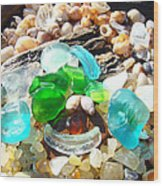 Smiley Face Beach Seaglass Blue Green Art Prints Wood Print
