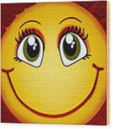 Smiley Sun Wood Print