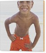 Smiling Boy On Beach Wood Print