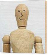 Smiling Wooden Figurine Wood Print
