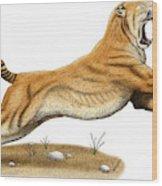 Smilodon Saber-toothed Tiger Wood Print