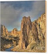 Smith Rock Foggy Morning Wood Print