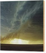 Smoke And The Supercell Wood Print