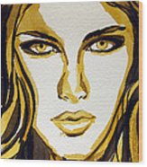 Smokey Eyes Woman Portrait Wood Print by Patricia Awapara