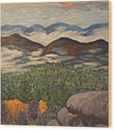 Smokey Mountain Sunset Wood Print