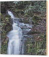 Smokey Mountain Waterfall Wood Print