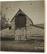 Smokey Prairie Barn  Wood Print