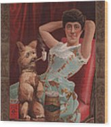 Smoking Dog In Advertisement For Globe Wood Print