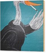 Smoking Egret In Leather Jacket Wood Print