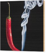 Smoking Red Hot Chilli Pepper  Wood Print