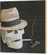 Smoking Skull  Wood Print