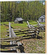 Smoky Mountain Cabins Wood Print