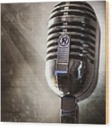 Smoky Vintage Microphone Wood Print