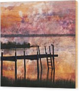 Smoldering Sunrise Wood Print