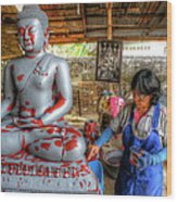 Smoothing Buddha Wood Print