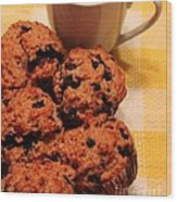 Snack Time - Muffins And Coffee Wood Print