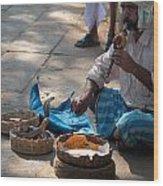 Snake Charmer Hampi Bazaar Wood Print