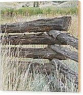 Snake Fence And Sage Brush Wood Print