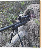 Sniper Dressed In A Ghillie Suit Wood Print