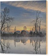 Dawn On The Snohomish Wood Print