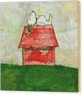 Snoopy Asleep On Red Doghouse Wood Print