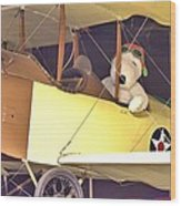 Snoopy In His Biplane Wood Print