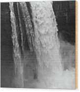 Snoqualmie Falls - Black And White Wood Print