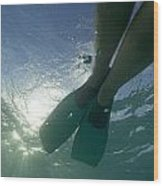 Snorkeller Legs With Flippers Underwater Wood Print