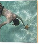 Snorkeller Touching Starfish On Seabed Wood Print