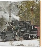 Snow And Steam Wood Print