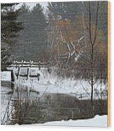 Snow And Stream Wood Print