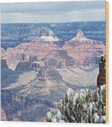 Snow At The Grand Canyon Wood Print