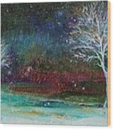 Snow At Twilight Wood Print